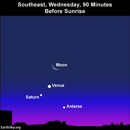 Get up early on Wednesday, January 6, 2016 to see the waning crescent  moon withe the dazzling planet Venus. Read more