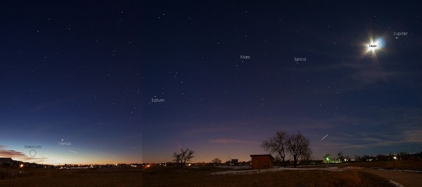View larger. | Composite of the 5 planets before dawn - January 28, 2016 - by Rod Cerkoney in Fort Collins, Colorado. https://bit.ly/202lGrw