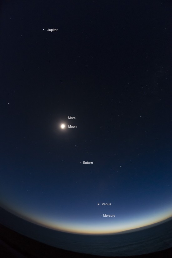 The 5 planets can be seen from around the world.  Their orientation to the horizon is different from one part of Earth to another. Denis Crute in Australia caught the 5 planets and the moon from the Southern Hemisphere on February 2, 2016.