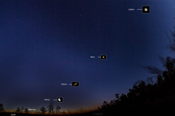 View larger. | Five planets before dawn, by Greg Hogan in Kathleen, Georgia. Photo taken January 24, 2016.