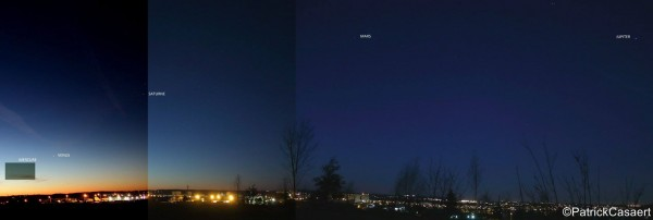 View larger. | Five planets before dawn, by Patrick Cabaret in France. Photo taken January 25, 2016.