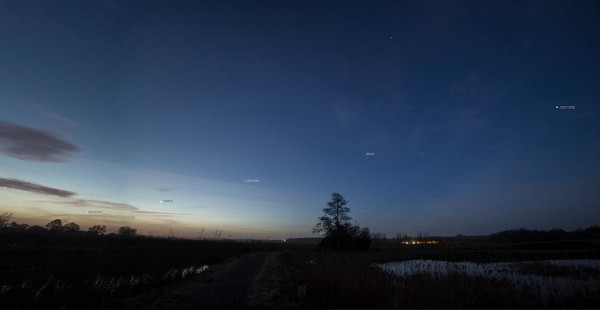 All 5 bright planets seen over Somerset U.K  on January 23, 2016. Photo: Paul Howell