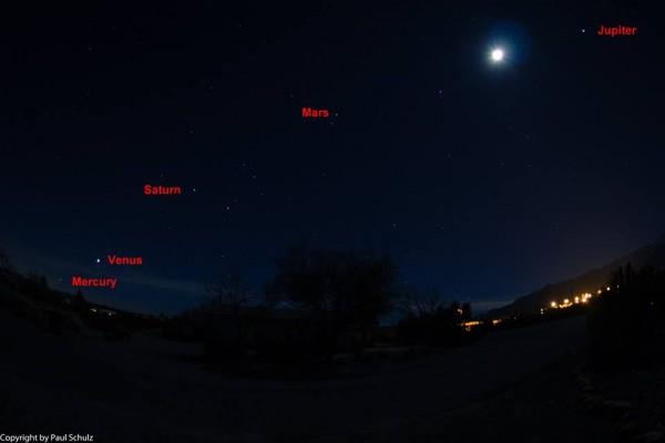 View larger. | Paul Schulz of Arizona took this photo of the five morning planets on January 29, at 6:00 a.m.