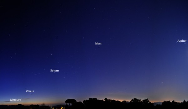 Five planets before dawn, by Juan Carlos Murillo in Barcelona, Spain. Photo taken January 27, 2016.