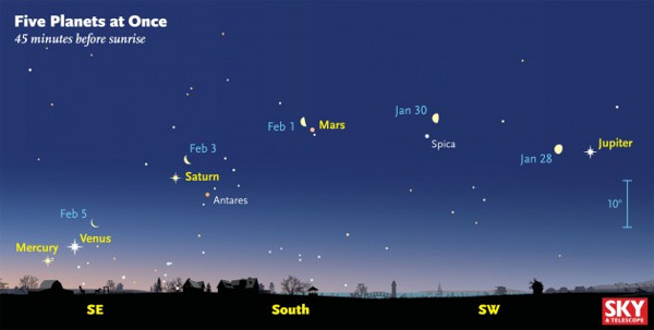 View larger. Here's the view 45 minutes before sunrise as plotted for February 1st, about when Mercury should be easiest to spot. For several days the waning Moon is marching eastward among the assembled planets. Sky & Telescope diagram