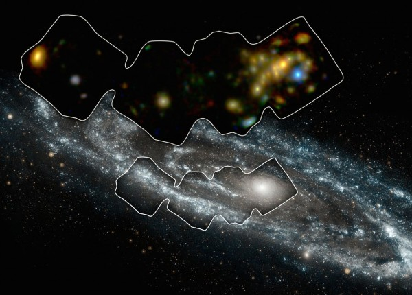 NASA's Nuclear Spectroscope Telescope Array, or NuSTAR, has imaged a swath of the Andromeda galaxy -- the nearest large galaxy to our own Milky Way galaxy. Image credit: NASA/JPL-Caltech/GSFC