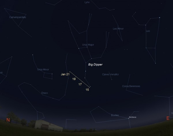View larger. | Facing northeast beginning around 1:00 a.m. local time – the time on your clock from most parts of the globe – until sunrise from January 15 to 21, 2016. Comet Catalina passes very close to the stars that form the Big Dipper as it nears its closest point to Earth. Illustration by Eddie Irizarry using Stellarium.