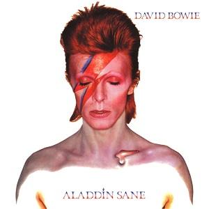 The cover of David Bowie's 6th album Aladdin Sane, originally released in 1973.