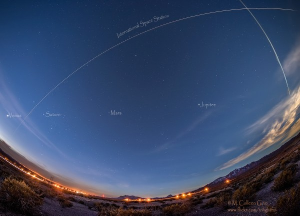 ISS and planets on January 23, 2016 by Colleen Gino in Polvadera, New Mexico