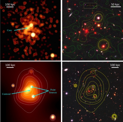 To get a more precise estimate of the galaxy cluster's mass, Michael McDonald and his colleagues used data from several of NASA's Great Observatories: the Hubble Space Telescope, the Keck Observatory, and the Chandra X-ray Observatory. Image courtesy of the researchers
