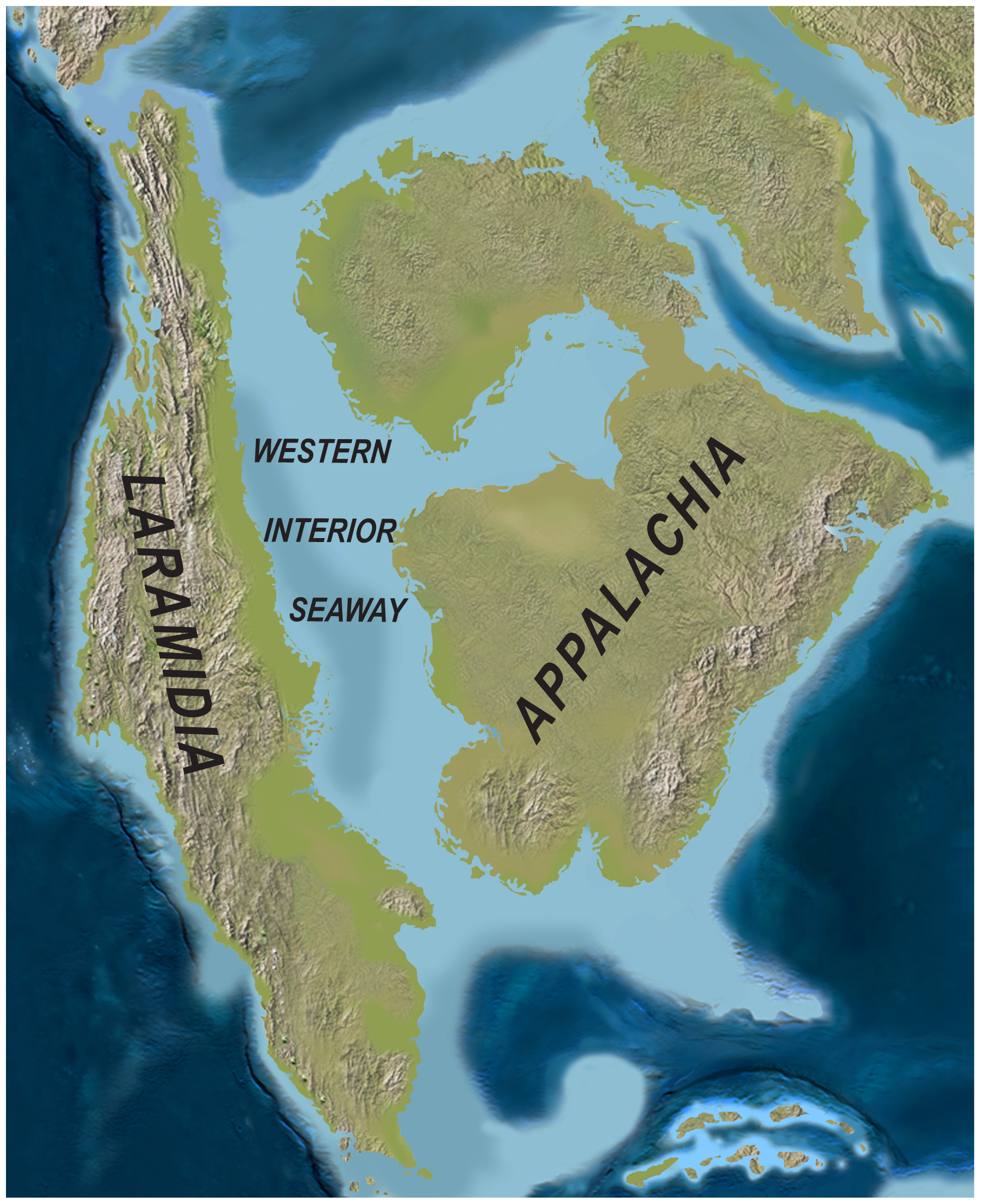 Paleogeography of North America during the late Campanian Stage of the Late Cretaceous (~75 Million years ago). Image credit:  Sampson, Scott D., et al. via PLoSone and Wikimedia Commons.