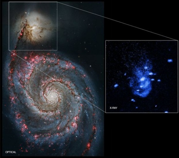 Here's how the smaller galaxy looks in X-rays.  Image via NASA/STScI/CXC/Univ of Texas