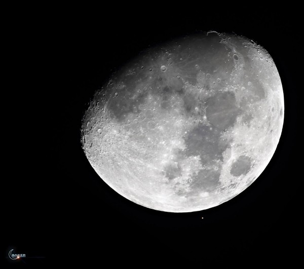 Reappearance!  The reappearance was tougher to catch than the disappearance last night, because Aldebaran disappeared on the moon's dark limb, and reappeared on the bright limb.  Photo by Jacob Baker in Fall River, Massachusetts.  Thanks, Jacob!