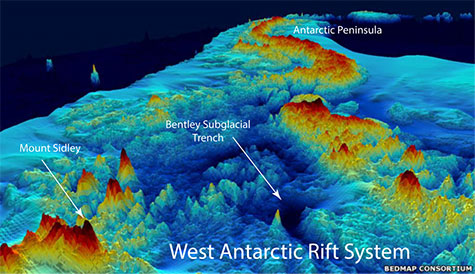 Topography of West Antarctica beneath the ice sheet. Image via Washington University.