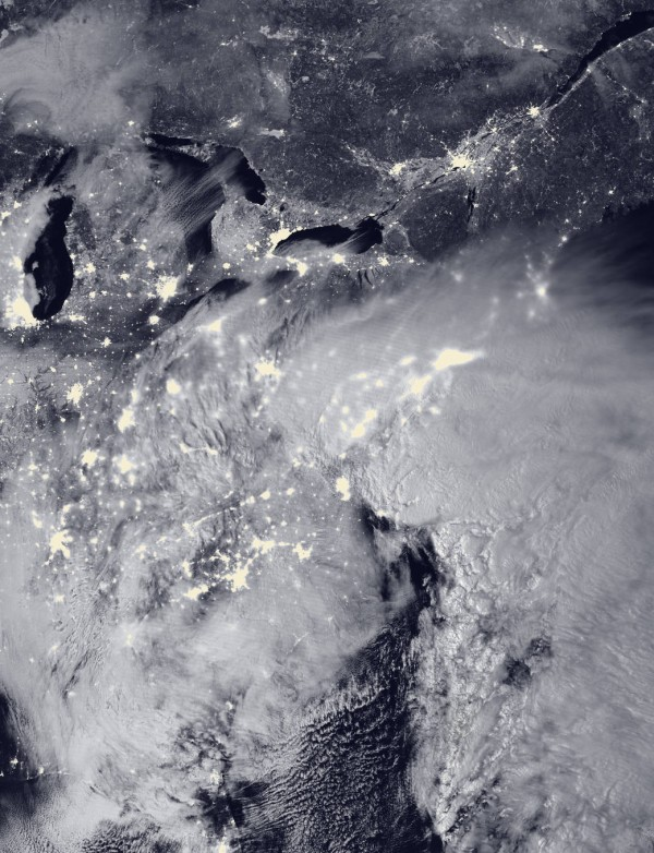 The Suomi NPP satellite acquired this image of the blizzard at 2:15 a.m. EST on Jan. 23, 2016.
