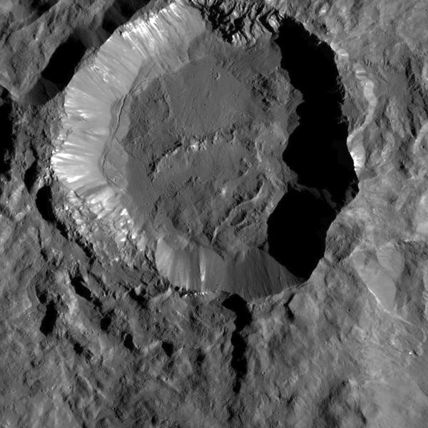 View larger.   Kupalo Crater on Ceres. Image via Image credit: NASA/JPL-Caltech/UCLA/MPS/DLR/IDA.