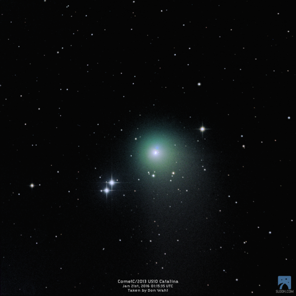 Comet Catalina on January 21, 2016, captured from the shared telescopes of Slooh.com by Don Wahl.