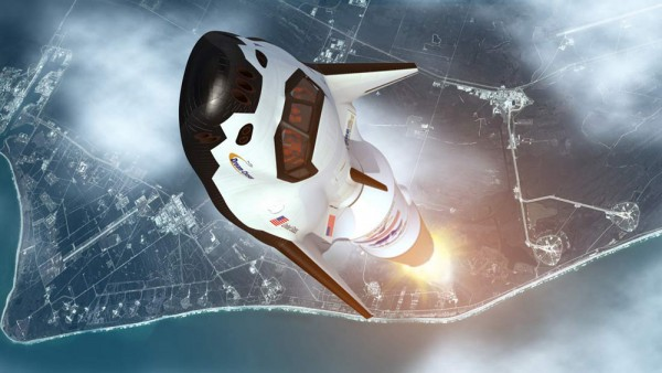 Artist's concept of Sierra Nevada Corp.'s Dream Chaser cargo ship in low-Earth orbit. The craft is designed to carry cargo to and from for the International Space Station. Image via NASA / SNC Space Systems.