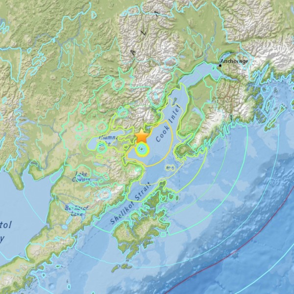 January 24, 2016 6.8-magnitude earthquake in southern Alaska.  Image via USGS.