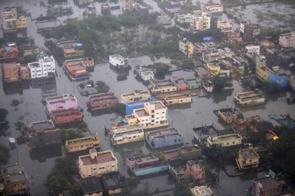 An aerial view shows a flooded residential colony in Chennai, India, December 6, 2015. Image credit: REUTERS/Anindito Mukherjee - RTX1XEWO