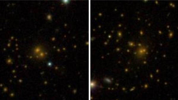 This comparison of galaxy clusters from the Sloan Digital Sky Survey DR8 galaxy catalog shows a spread-out cluster (left) and a more densely-packed cluster (right). A new study shows that these differences are related to the surrounding dark-matter environment. Image via Sloan Digital Sky Survey