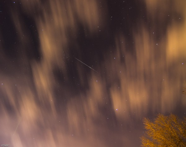Quadrantid meteor, caught just as the clouds were closing in, by Deb Kestler in Middletown, Rhode Island, January 4, 2016.
