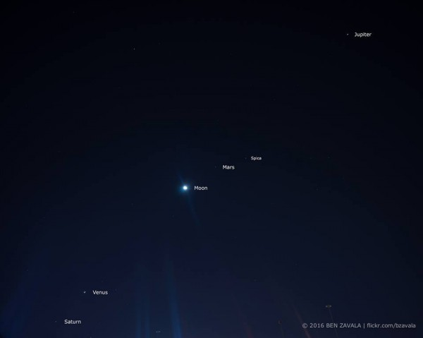 View larger. | As January, 2016, opens, there are four planets in the predawn sky.  Ben Zavala caught them on January 4, 2015.  Thanks, Ben!