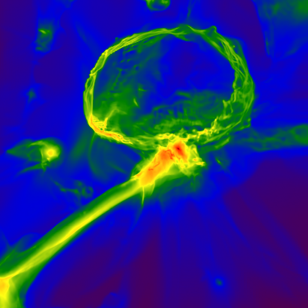 Snapshot from a simulation of the first stars in the universe, showing how the gas cloud might have become enriched with heavy elements. The image shows one of the first stars exploding, producing an expanding shell of gas (top) which enriches a nearby cloud, embedded inside a larger gas filament (center). The image scale is 3,000 light-years across, and the color map represents gas density, with red indicating higher density. Image credit: Britton Smith, John Wise, Brian O'Shea, Michael Norman, and Sadegh Khochfar.