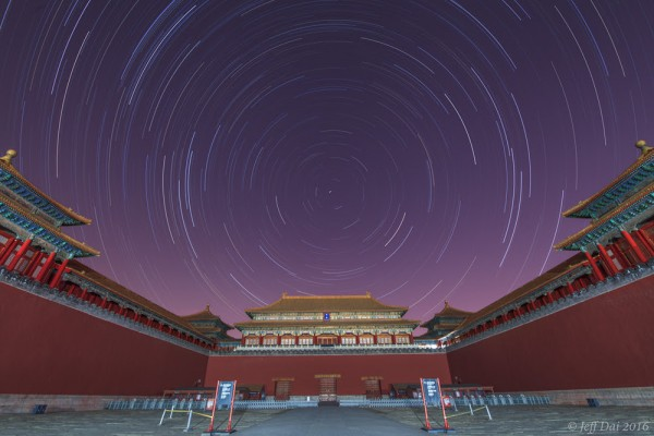 View larger. | Star trails over the Forbidden City, Beijing, China. Photo taken January 23, 2015 by Jeff Dai.