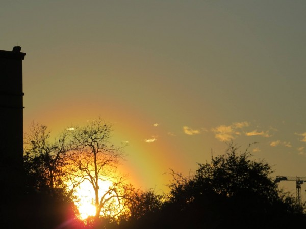View larger. | Angela Dobbs caught this unusual sunset in Austin, Texas on January 8, 2016.