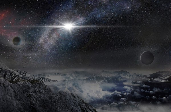View larger. | Artist's concept of the record-breakingly powerful, superluminous supernova ASASSN-15lh as it would appear from an exoplanet located about 10,000 light years away in the host galaxy of the supernova. Image via Beijing Planetarium / Jin Ma.
