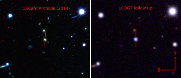 Pseudo-color images showing the host galaxy before the explosion of ASASSN-15lh taken by the Dark Energy Camera (DECam) [Left], and the supernova by the Las Cumbres Observatory Global Telescope Network (LCOGT) 1-meter telescope network [Right]. (Credit: The Dark Energy Survey, B. Shappee and the ASAS-SN team)