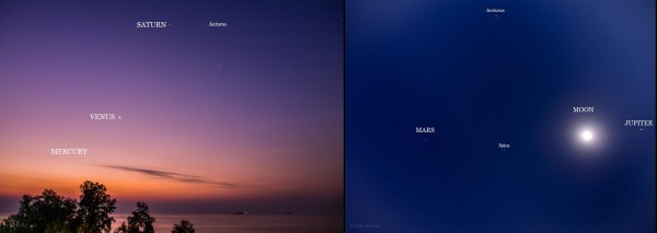 View larger. | All five planets before dawn on January 29, 2015, from Vince Babkirk - aka Mister Hat - in Hua Hin, Thailand. The moon has just passed Jupiter and will be moving past all the planets in the coming days.