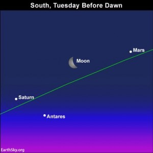 Tomorrow, before sunrise February 2, look for the moon between the planets Mars and Saturn. The green line depicts the ecliptic - the Earth's orbital plane projected onto the dome of sky. Read more