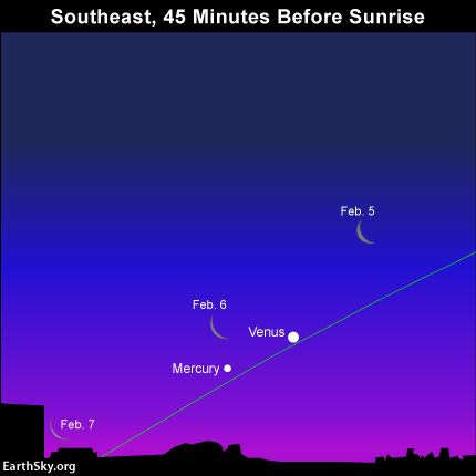Watch for the  crescent moon to sink as it wanes in the morning sky. The green line represents the ecliptic.