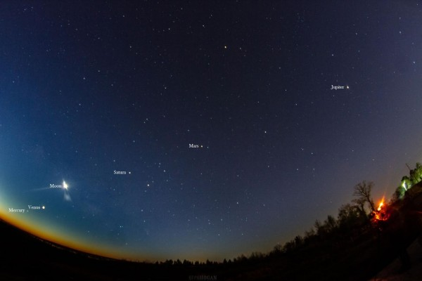 View larger. | All 5 bright planets, visible together before dawn on February 5, 2016.  The moon swept past the 5 planets in late January and early February.  Photo by Greg Hogan in Kathleen, Georgia.
