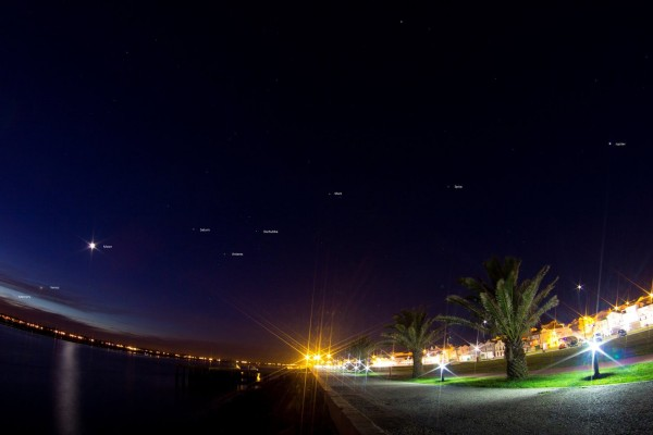 View larger. | The 5 planets and the moon on February 5, 2016 by João Pedro Bessa in Portugal.