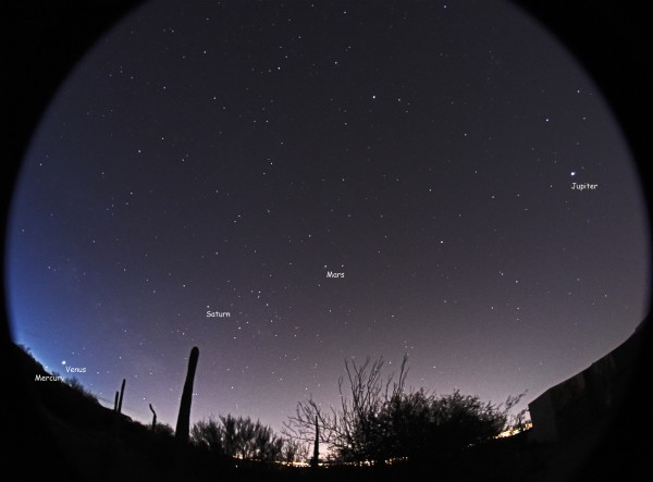 Since late January, and through mid-February, 5 bright planets are visible at once in the predawn sky. This image is from February 8, 2016.  It's by Eliot Herman in Tucson, Arizona.  View on Flickr.