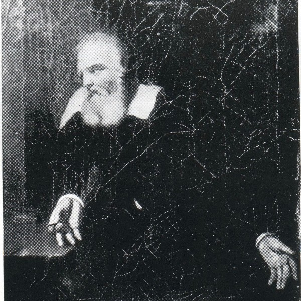 Portrait, attributed to Murillo, of Galileo gazing at the words 'E pur si muove' (not legible in this image) scratched on the wall of his prison cell. Image via Wikimedia Commons.
