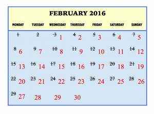 February 2016 calendar with Gregorian days crossed off. Numbers in red show dates in the Hanke-Henry Permanent Calendar.