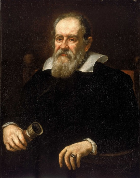Tired-looking man, big beard, wide white collar. He holds a small telescope.