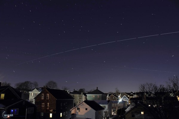 View larger. | February 14, 2016 pass of the International Space Station - the long dashed line - over Fall River, Massachusetts.  The shorter dashed lines are airplanes.  Photo by EarthSky Facebook friend Jacob Baker.  Thanks, Jacob!