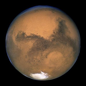 View larger. Photograph of Mars taken by the Hubble Space Telescope during opposition in 2003.