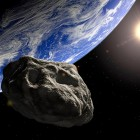 Artist's concept of an asteroid approaching Earth.