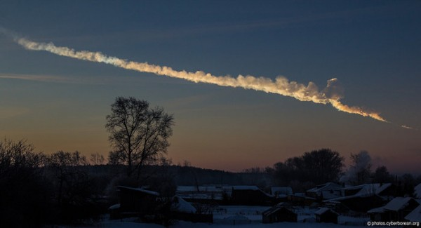 An object entered the atmosphere over the Urals early in the morning of 15 February 2013. The fireball exploded above Chelyabinsk city, and the resulting overpressure caused damage to buildings and injuries to hundreds of people. This photo was taken by Alex Alishevskikh from about a minute after noticing the blast. Photo credit: Alex Alishevskikh/Flickr