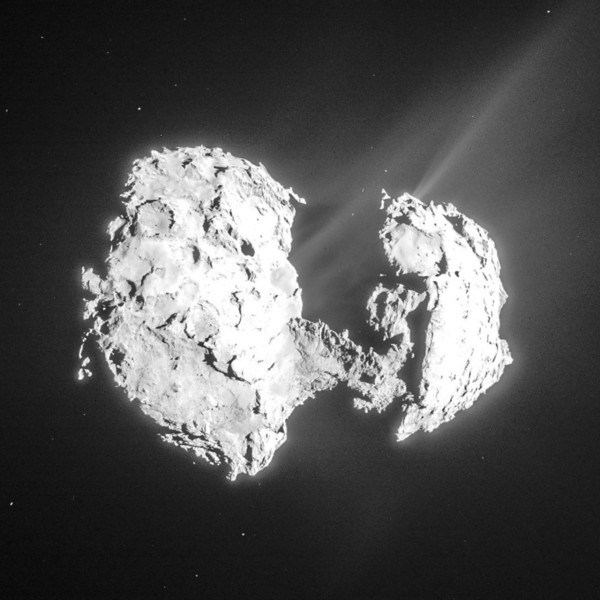 View larger. | Comet 67P/Churyumov-Gerasimenko as seen by ESA's Rosetta spacecraft