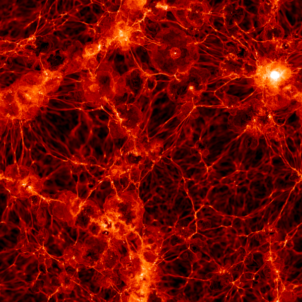 The same slice of data, this time showing the distribution of normal or baryonic matter. Image credit: Markus Haider / Illustris collaboration