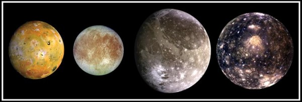 Composite image showing spacecraft views of the four largest moons of Jupiter which are known as the Galilean satellites, first seen by the Italian astronomer Galileo Galilei in 1610. Shown from left to right in order of increasing distance from Jupiter, Io is closest, followed by Europa, Ganymede, and Callisto. Image via NASA.