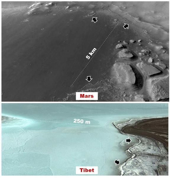 Perspective views of (top) the floor of a basin where Rodriguez and others propose in this investigation ...A key objective of the planned field expedition is to investigate these bizarre shoreline features and characterize their astrobiological potential.