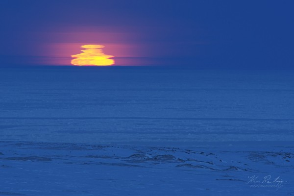 Moonrise over the Arctic Ocean, by Kevin Rawlings, Febrarury 23, 2016.